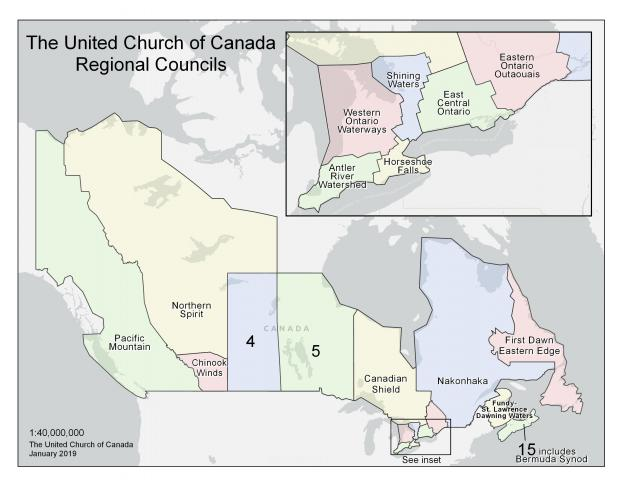 map of Canada showing new United Church regions