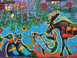 Eighth Fire Prophecy Mural in Roncesvalles village Toronto by Philip Cote and Jim Thierry Bravo