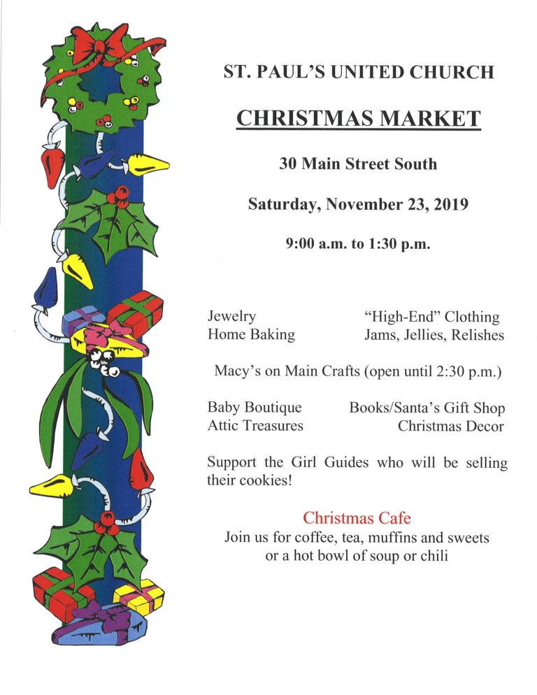St. Paul's United Church Brampton Christmas Market
