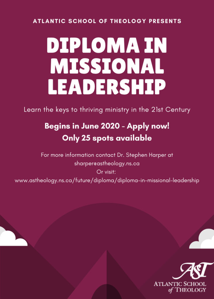 Diploma of Missional Leadership from the Atlantic School of Theology