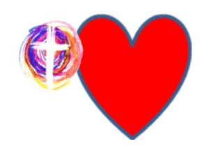 picture of a heart and a stylized cross