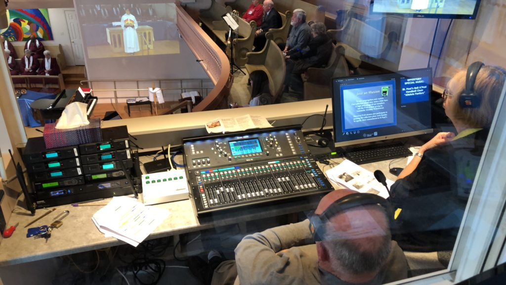 sound board and booth view of St. Paul's UC Midland