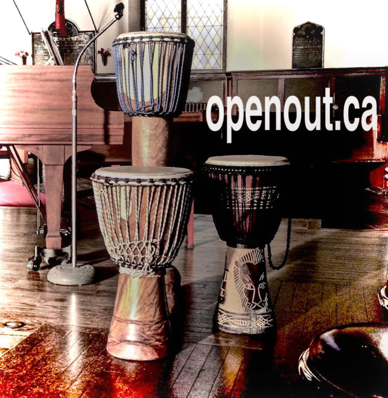 picture of three djembe drums and a piano