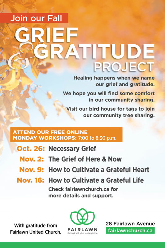 Grief and Gratitude Poster with dates and titles