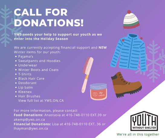 call for donations with picture of hat, jacket, boot