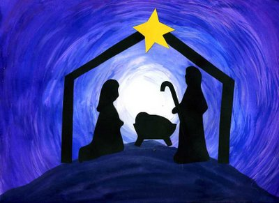 silhouette of a nativity scene