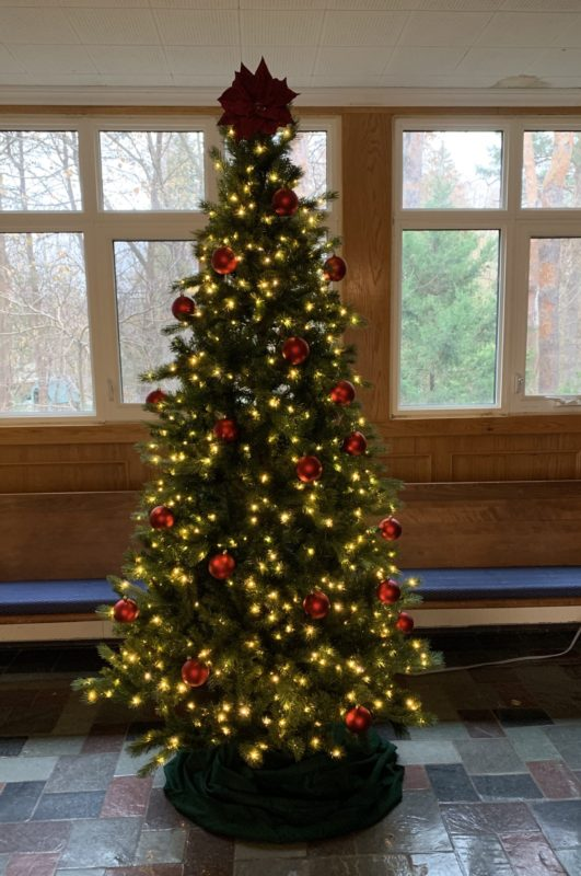 Christmas tree in narthex of church