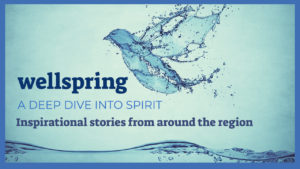watery bird over the waves with text: wellspring a deep dive into spirit stories of inspiration around the region
