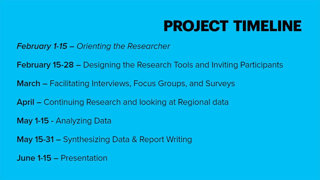 slide of timeline of project