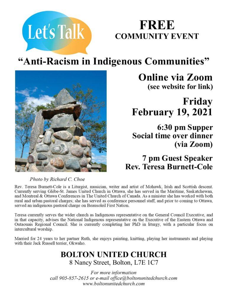 Let's Talk.   Anti-Racism in Indigenous Communities
