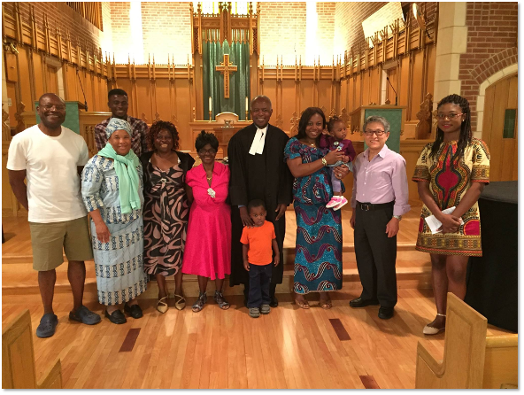 Members of La Mission Protestante Francophone de Toronto in Downsview United Church sanctuary