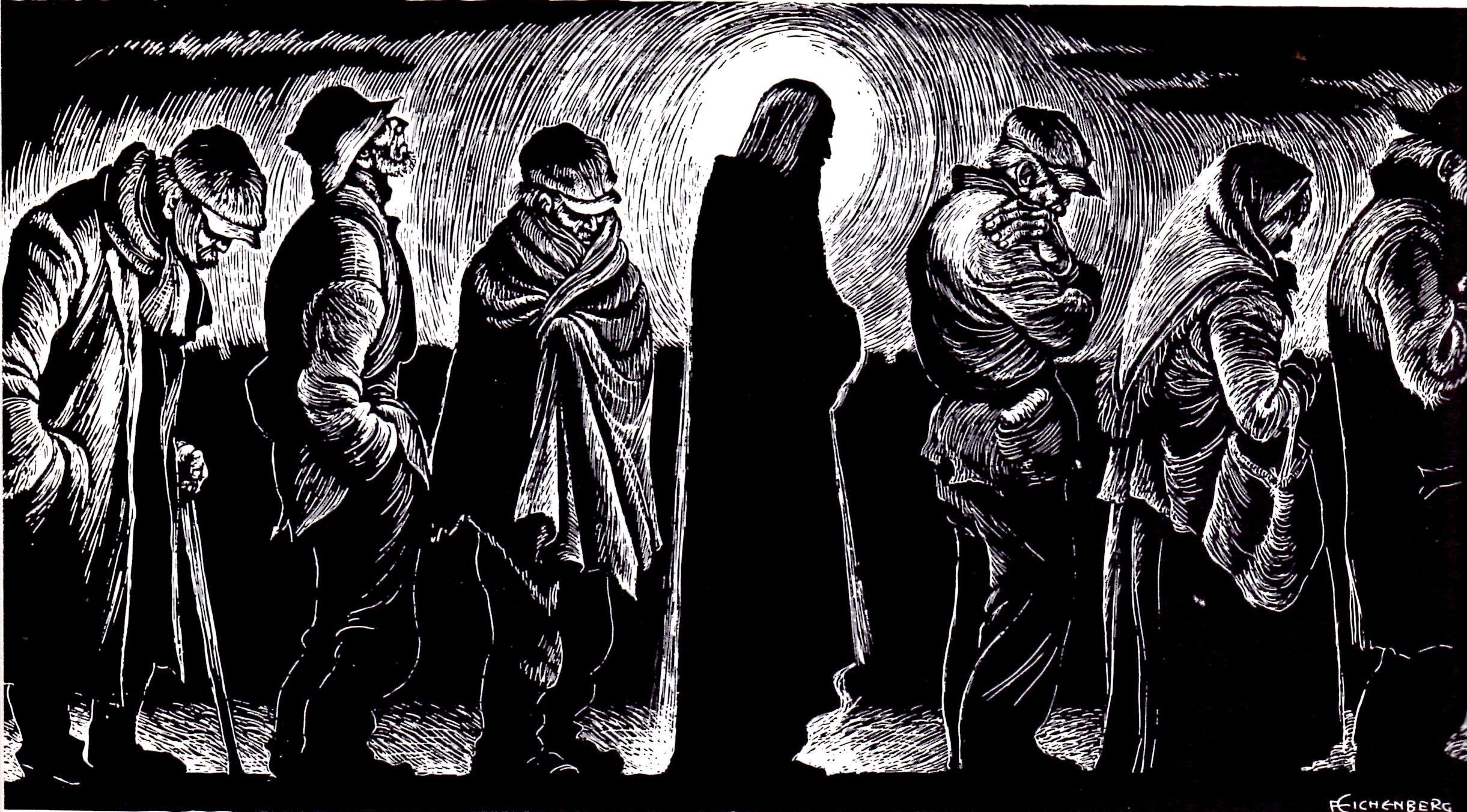 Image of Jesus in a bread line. Artwork.