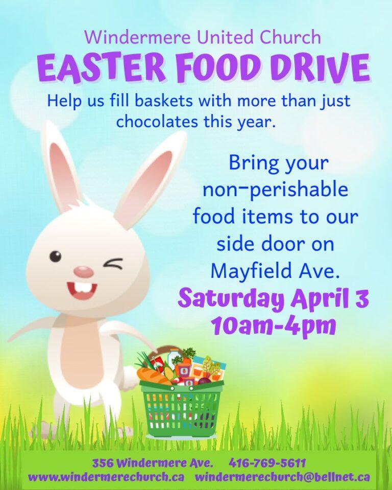Easter Food Drive – Windemere United Church