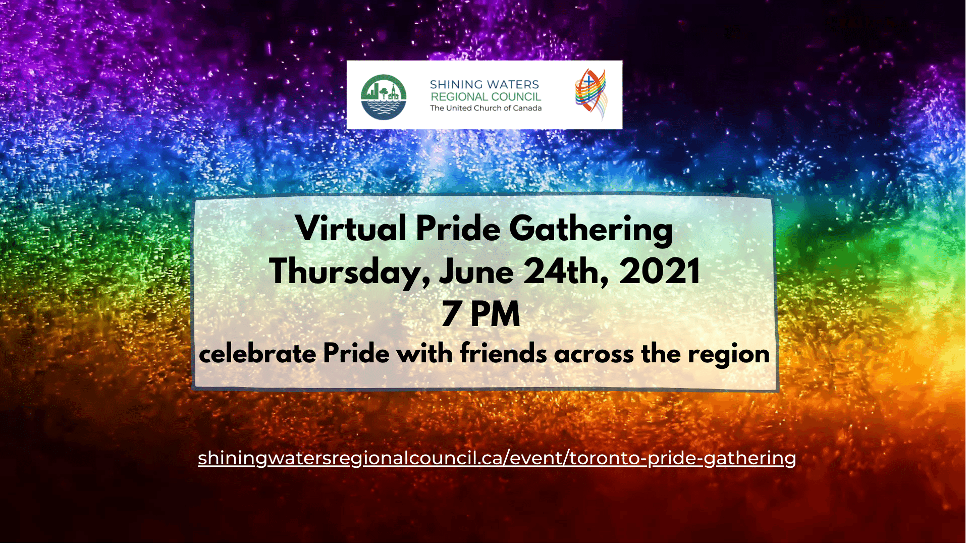 June 24 at 7 pm with rainbow fireworks background