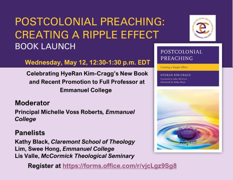 Book Launch – HyeRan Kim-Cragg's Postcolonial Preaching: Creating a Ripple Effect