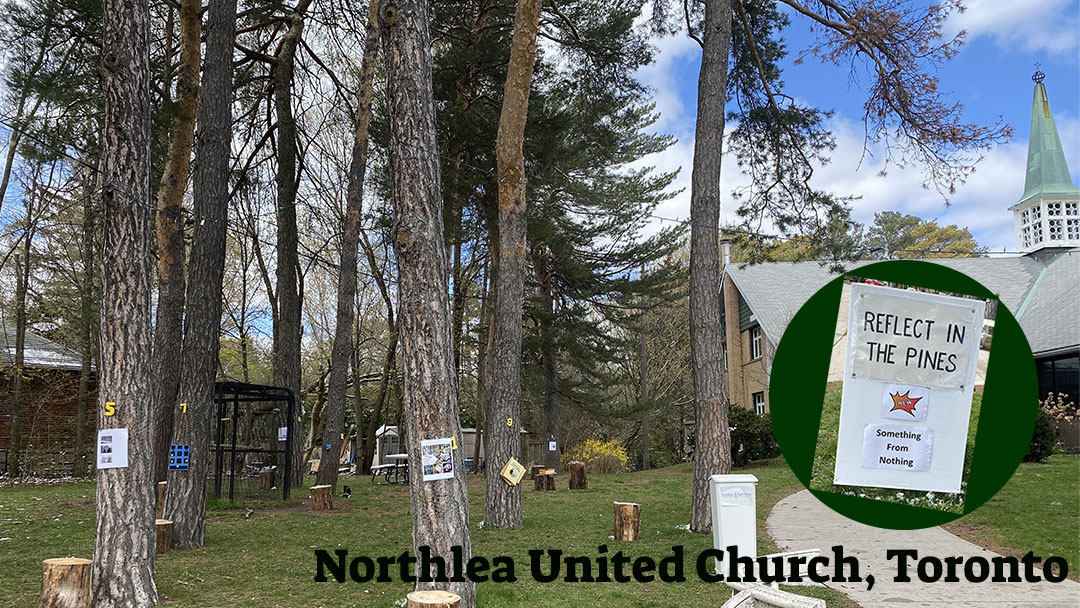 front yard of Northlea United Church with sign Reflect in the Pines
