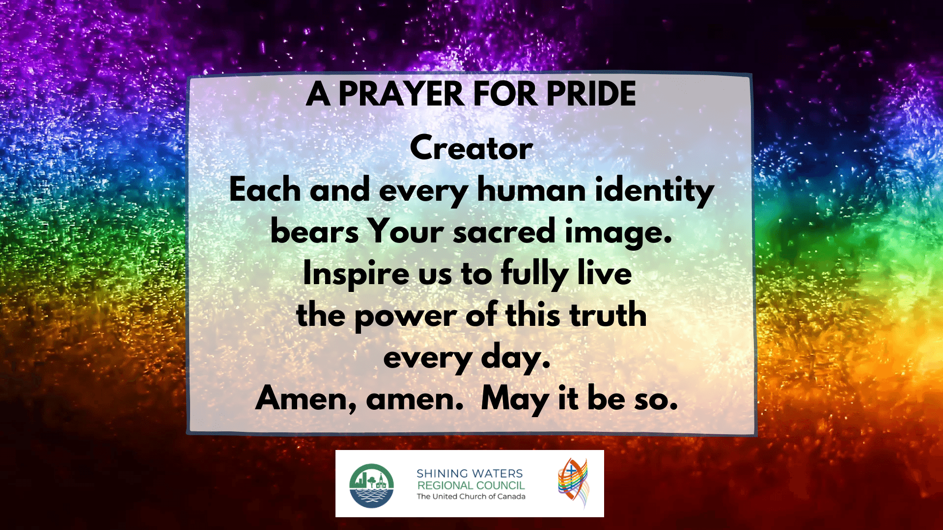 A prayer for pride with rainbow fireworks background