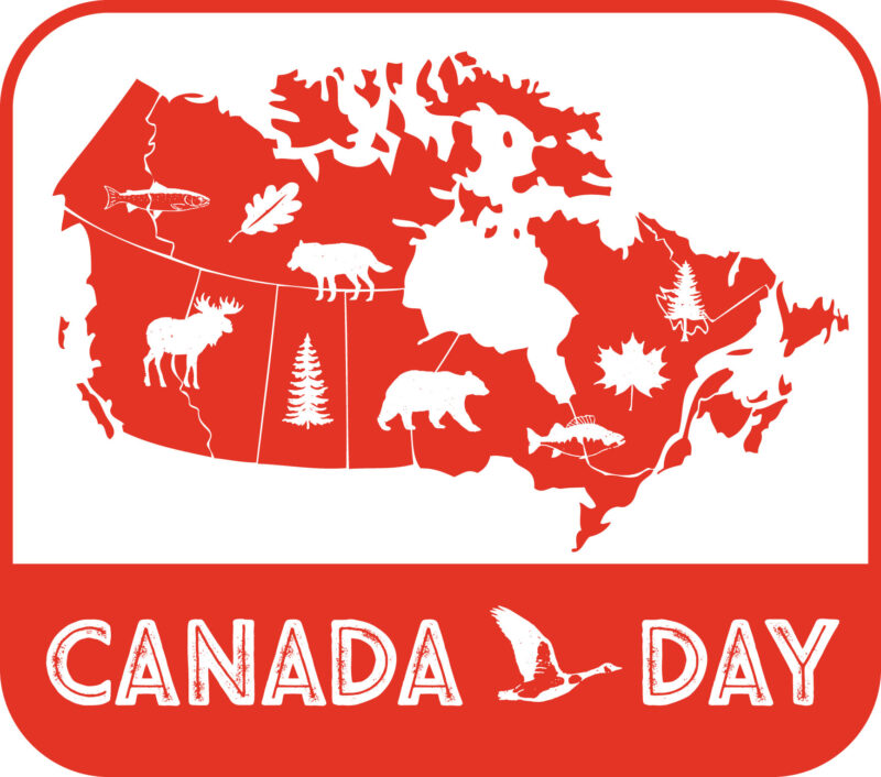 map of Canada with symbols