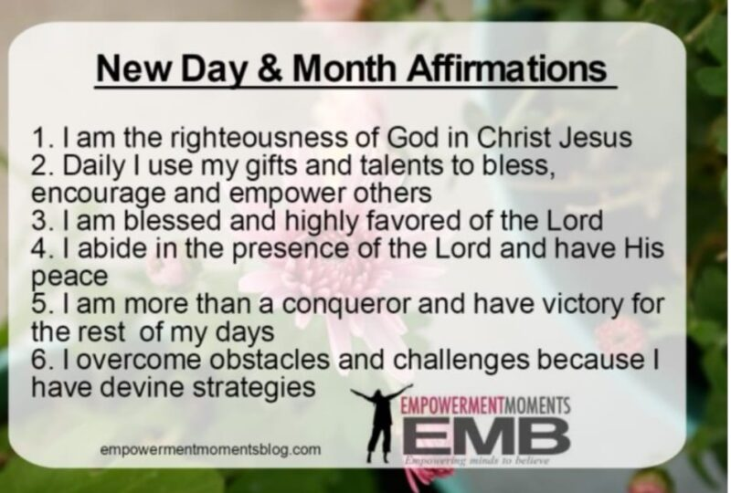 New day and month affirmations