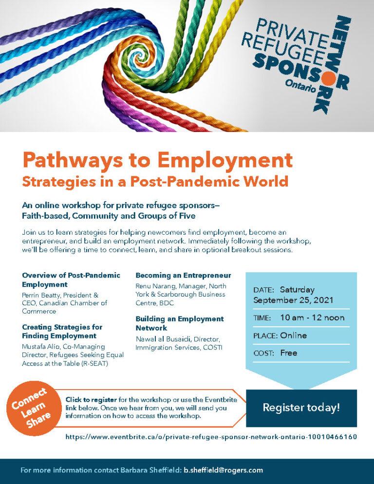 Private Refugee Sponsor Network (Ontario) Employment strategies Workshop