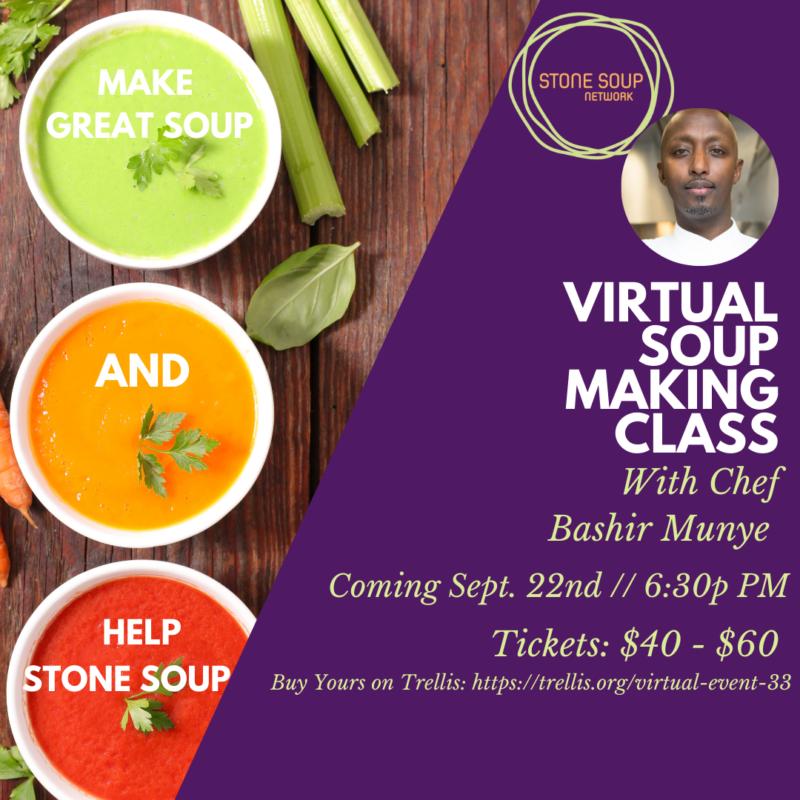 three bowls of soup plus a thumbnail of Chef Bashir Munye