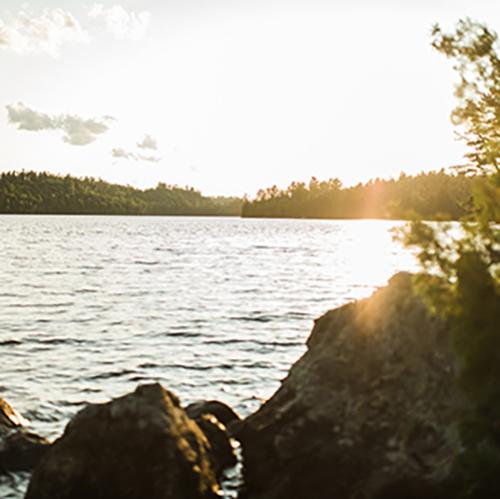 sun glinting off lake and shoreline